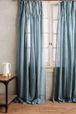 "Pinch-Pleat Curtain - Blue-Green, 63""L - Anthropologie"