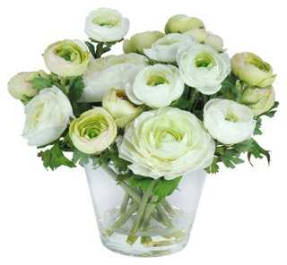 "10"" Ranunculus in Vase, Faux - One Kings Lane"