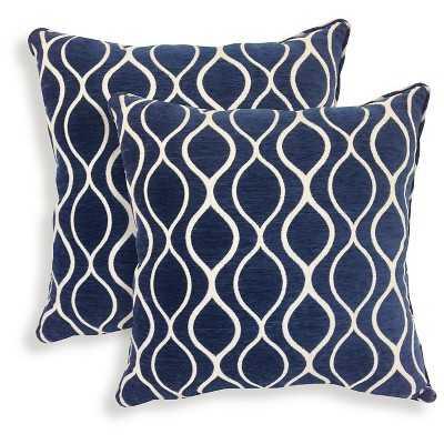 "Essentials Gemma Chenille Geometric Throw Pillow - Sapphire - 2 Pack - 20""sq. - Polyester fill - Target"