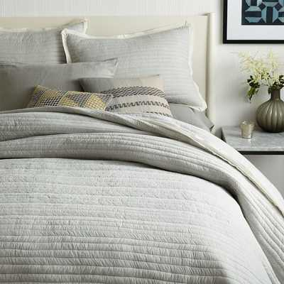 Mini Stripe Coverlet, King, Frost Gray - West Elm