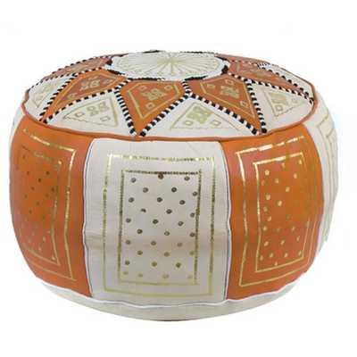 Fez Moroccan Leather Pouf Ottoman - AllModern