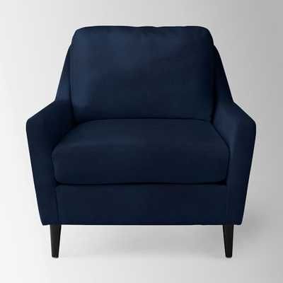 Everett Armchair - Performance Velvet, Ink Blue - West Elm