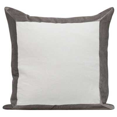 WINDOWPANE DECORATIVE PILLOW - 22'  - White/Grey - Insert Sold Separately - HD Buttercup
