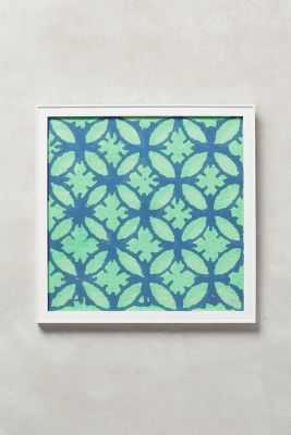 Octagon Chinoiserie Wall Art - 12.25'' square - framed(Green) - Anthropologie