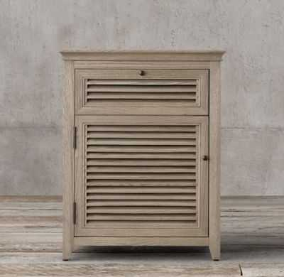 Shutter Closed Nighstand-Distressed Taupe - RH