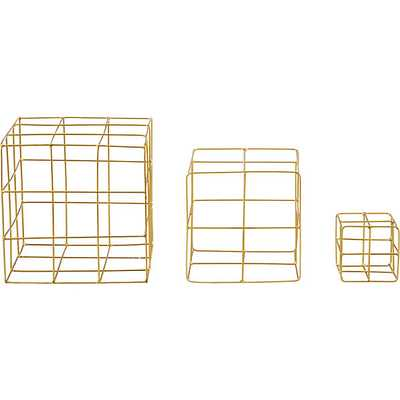 3-Piece Brass Wire Cube Set - Domino