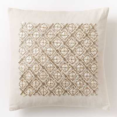 "Embellished Trellis Pillow Cover - Belgian flax-  16""sq - Insert sold separately - West Elm"
