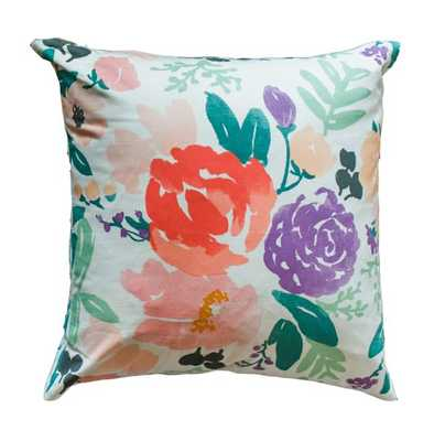 "BRIDGE CITY BLOOMS PILLOW ON WHITE- 20""X20"" -Insert Sold Separately - Caitlin Wilson"