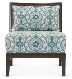 Inglewood Chair, Teal/White - One Kings Lane