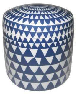 """7"""" Graphic Ceramic Jar, Blue/White - One Kings Lane"""