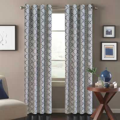Tile Scroll 108-Inch Window Curtain Panel in Blue - Bed Bath & Beyond