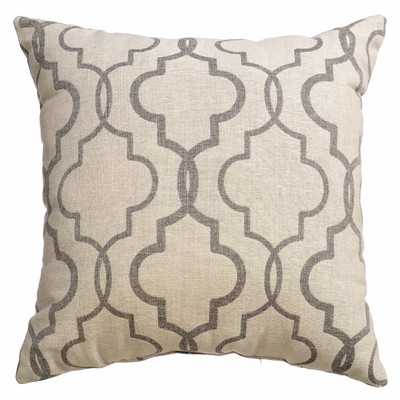 Ezra Tile Throw Pillow - 18x18 - Pewter - Feather down insert - Wayfair