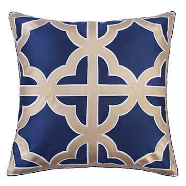 Trefle Pillow - Gold applique - 24''W x 24''H - Feather and down insert - Z Gallerie