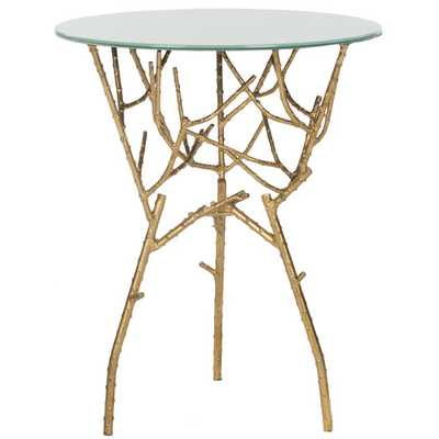 Chatwick End Table - Gold / White - AllModern
