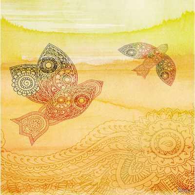 "Love Birds - Art Print on Premium Wrapped Canvas - 18"" x 18"" - AllModern"