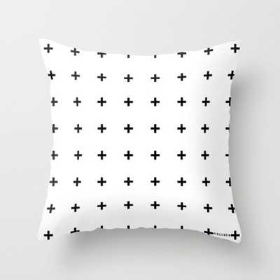 "Black Plus on White Pillow - 16"" x 16"" - Down Insert - Society6"