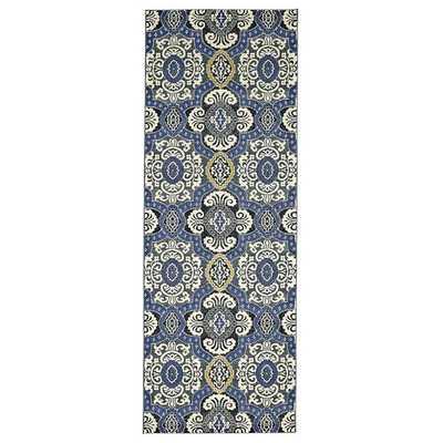 Grand Bazaar Indigo Power-loomed Caslon Runner Rug (2'10 x 7'10) - Overstock