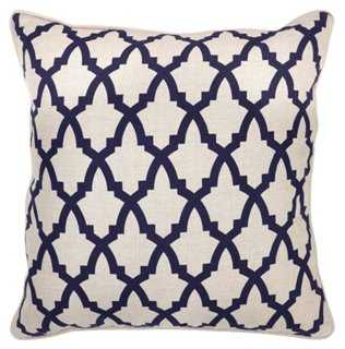 Lattice 22x22 Linen Pillow, Navy - One Kings Lane