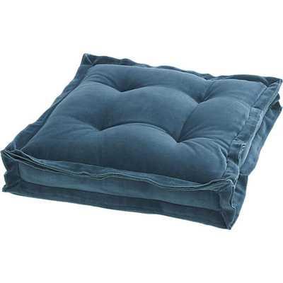 """Velvet blue green 23"""" floor cushion - CB2"""