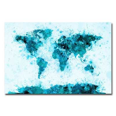 """World Map Splashes"" by Michael Tompsett Graphic Art on Wrapped Canvas in Blue Unframed - AllModern"
