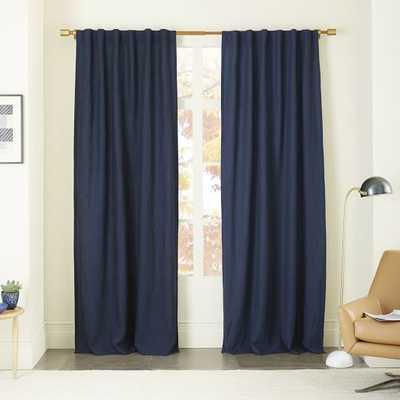 """Belgian Flax Linen 124"""" Curtain + Blackout Lining - Midnight - West Elm"""