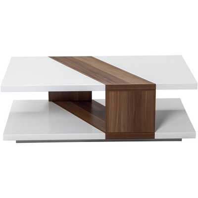 Bianca White Lacquer Walnut Finished Rectangular Coffee Table - Overstock