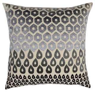 Megha 20x20 Cotton Pillow, Gray - One Kings Lane