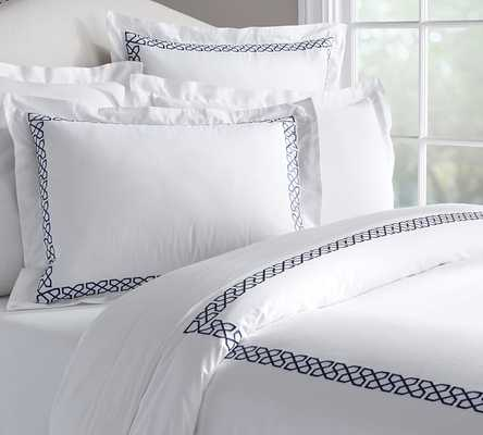 AVERY EMBROIDERED SATEEN SHAM - EURO - Pottery Barn