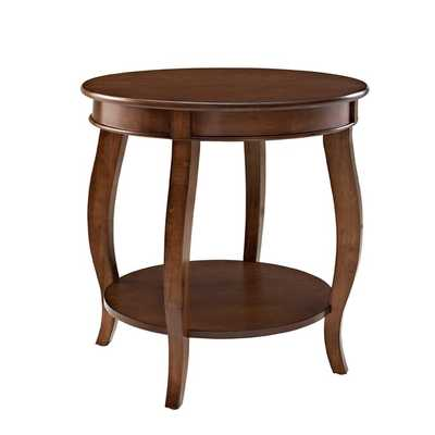 Oh! Home Seaside Hazelnut Round Table with shelf - Overstock