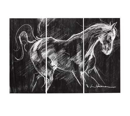 """Planked Horse Triptych- 54"""" wide x 38"""" high x 1.5"""" thick- Unframed - Pottery Barn"""