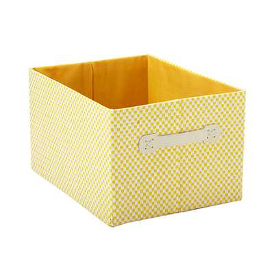 Large Gingham Bin Yellow - containerstore.com