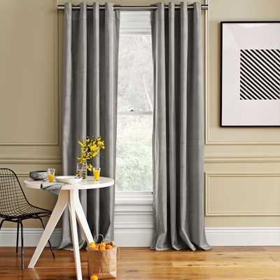 """Velvet Grommet Curtain - Dove Gray; 48"""" x 84"""" - West Elm"""