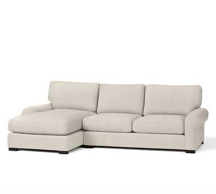 Turner Roll Arm Upholstered Sofa with Chaise Sectional-Right Arm-Ivory - Pottery Barn