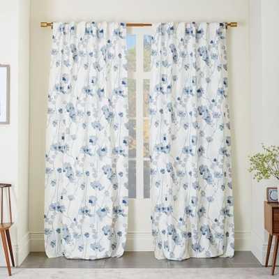 Cotton Canvas Shadow Floral Curtain - West Elm