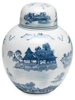 """8"""" Marisot Jar, Blue/White - One Kings Lane"""