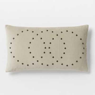 Studded Velvet Rings Pillow Cover -Putty, No Insert - West Elm