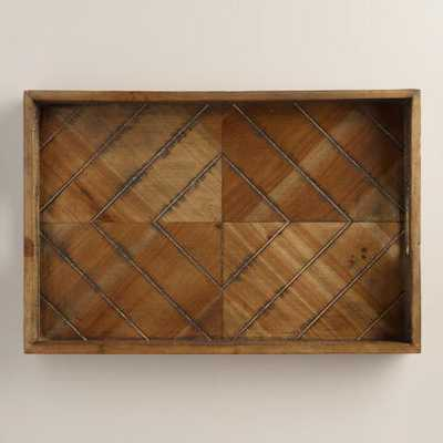 Wood Herringbone Tray - World Market/Cost Plus