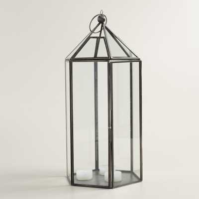 Large Antique Zinc Metal Riley Hexagon Lantern - World Market/Cost Plus