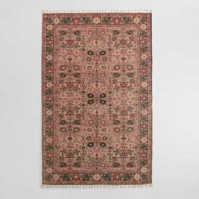 5x8 Blush Floral Block Print Cotton Symi Area Rug - World Market/Cost Plus