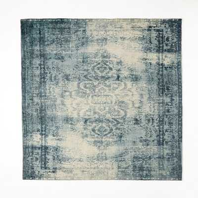 Distressed Arabesque Wool Rug - Midnight - 8' x 10' - West Elm