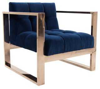 Rose Accent Chair, Navy Velvet - One Kings Lane