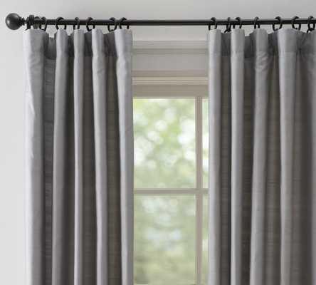 "Dupioni Silk Drape - Single width cotton lining; 96"" - Platinum Gray - Pottery Barn"