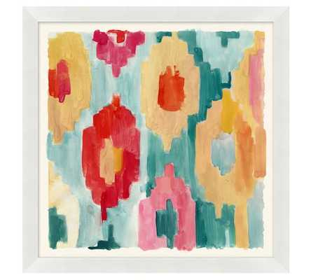 "PINK AND BLUE CORAL COLORFUL PAINTERLY IKATS FRAMED PRINTS - 21"" sq. - Pottery Barn"