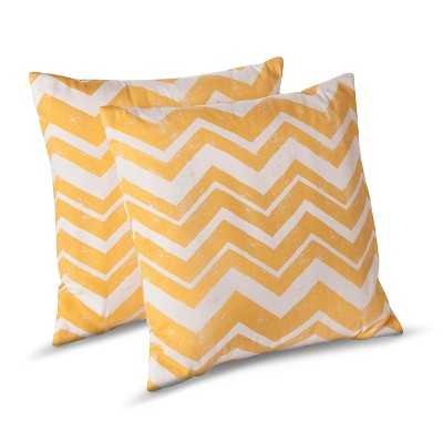Chevron Toss Pillows - 2 Pack - Yellow - Polyester fill - 18.000L x 18.000W - Target
