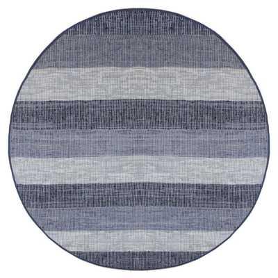 Hand Woven Matador Blue Stripe Leather Rug (8' Round) - Overstock