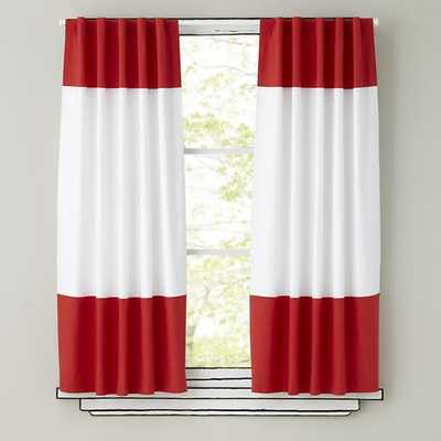 "63"" Red Color Edge Curtain - Land of Nod"