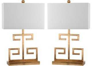 Greek Key Table Lamp Set, Bronze - One Kings Lane