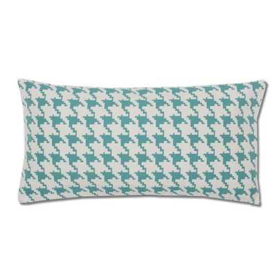 """Teal and White Houndstooth Throw Pillow- 12""""x 24""""-  Feather insert - Crane & Canopy"""