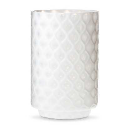 "Thresholdâ""¢ Large White Patterned Glass Hurricane Candle Holder - Target"
