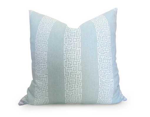 Greek Key Stripe Pillow Cover - Light Blue-18x18-  Insert not included - Willa Skye